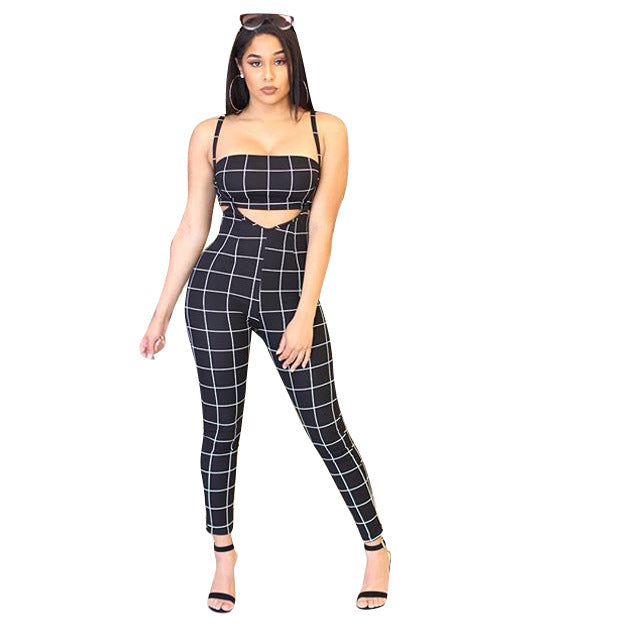 Costbuys  Summer Black White Plaid Sexy Skinny Jumpsuits Women Waist Band Cut Out Party Romper - Black / S