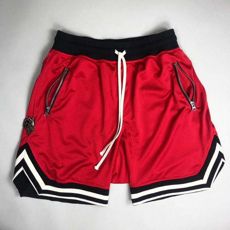 Costbuys  Jogger Sporting Shorts Slimming Men Black Bodybuilding Short Pants Male Fitness Gyms Shorts for workout - red / XXL
