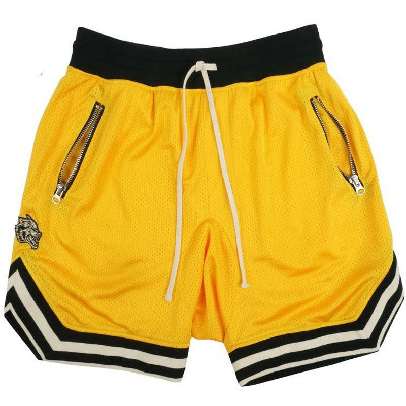 Costbuys  Jogger Sporting Shorts Slimming Men Black Bodybuilding Short Pants Male Fitness Gyms Shorts for workout - yellow / XXL