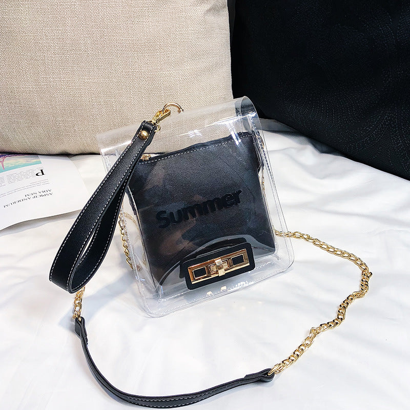 Costbuys  Summer New WOmen PVC Clear Handbags Women Fashion MIni Shoulder Bags Small Crossbody Bags with Chain for Girls Ladies