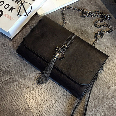 Costbuys  Summer pu leather women small envelope shoulder bags with tassel black high quality women day clutches 298 Crossbody B
