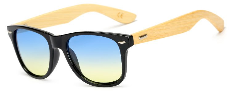 Costbuys  Women Bamboo Wooden Sunglasses Men Oval Gradient Color Sun Glasses UV400 Protection Male Eyewear By - Br Blue Yellow
