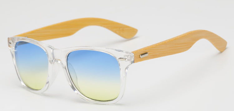 Costbuys  Women Bamboo Wooden Sunglasses Men Oval Gradient Color Sun Glasses UV400 Protection Male Eyewear By - Tr Blue Yellow
