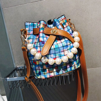 Costbuys  Women Brand Bucket Bag Desinger PU Leather Plaid Shoulder Bag Small Crossbody Bag with Pearl For Girls Ladies Bag 153