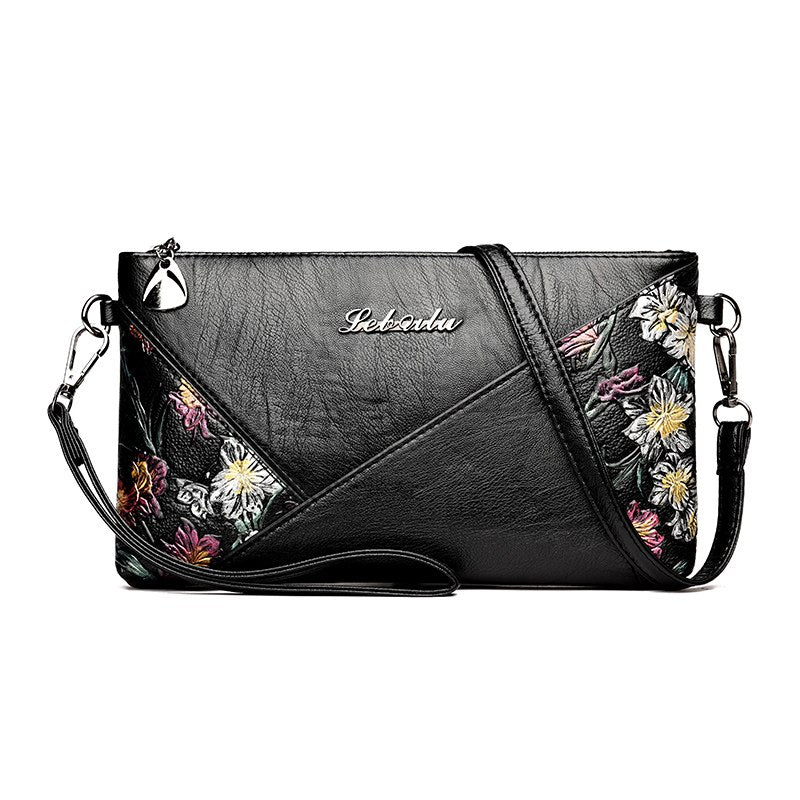 Costbuys  Women Leather Messenger Bags Small Crossbody Bags For Women Sac a Main Flowers Shoulder Bag Female Envelope Bag Clutch