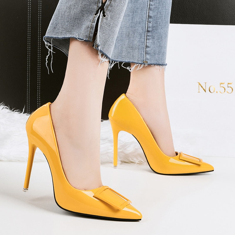 2018 Women Sexy Fetish High Heel Pumps Yellow Heels Scarpin Female Party Prom Shoes Elegant Office Lady Dress Leather Shoes