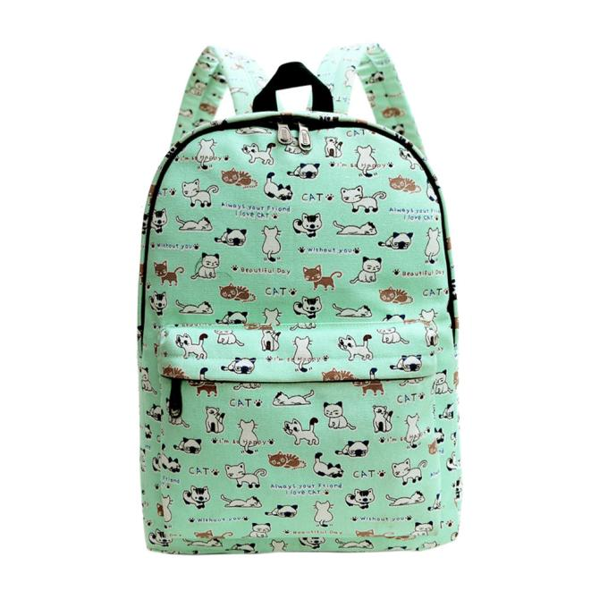 Costbuys  Fashion Women Backpack Canvas School Bag Printing School Backpack Shoulder Bags Casual Rucksacks Travel s Bag pack - G