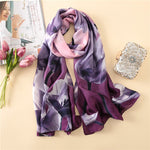 Women silk scarf print floral shawls and wraps big size pashmina neck scarf