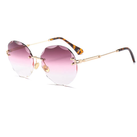 oversized rimless Round sunglasses women brand designer sunglasses retro  clear shades Metal Frame gradient eyeglasses UV400 2dd5969354