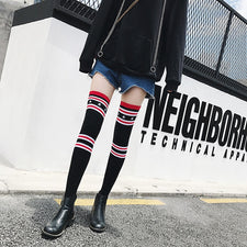 Spring autumn and winter over the knee high socks red stockings stars 2 bars over the knee socks women stocking sexy girls