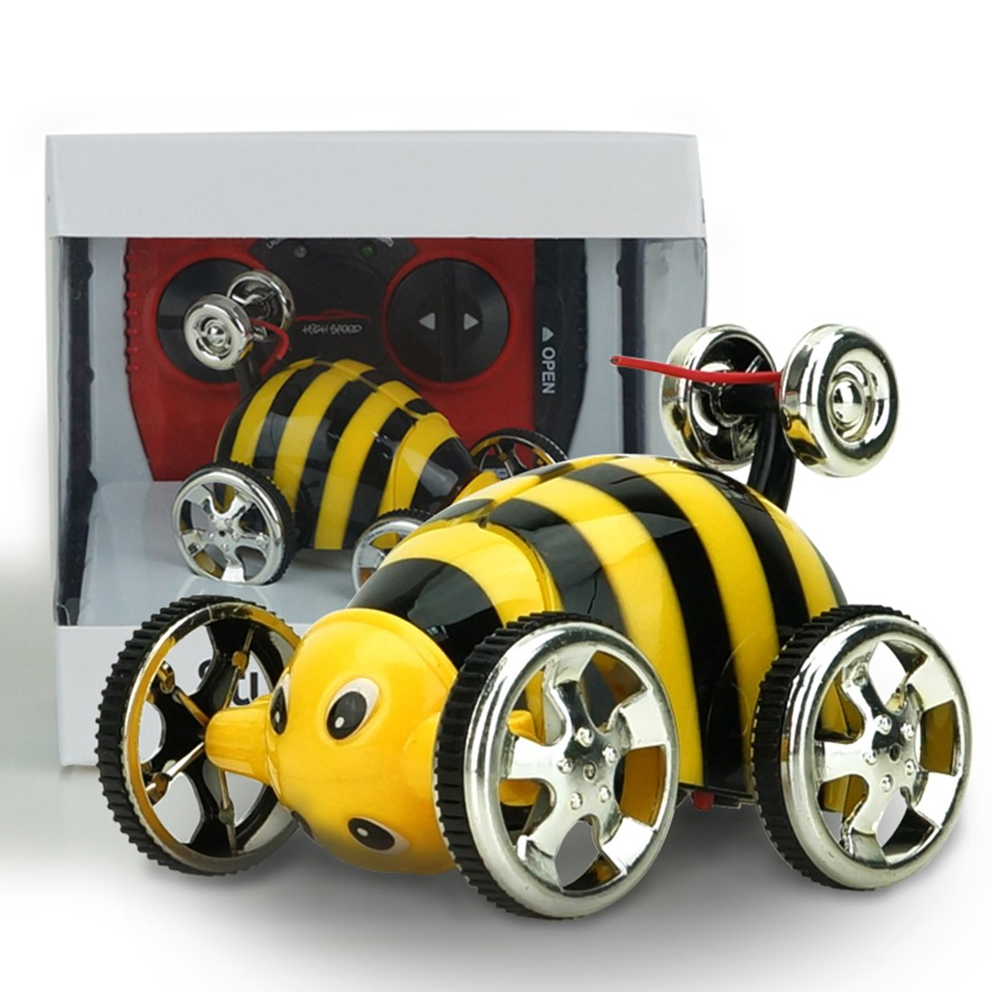 Costbuys  Creative Mini Insect Stunt Overturn 360 Degrees Flip RC Cars Toy for Children - Yellow Remote Control Toys - Yellow