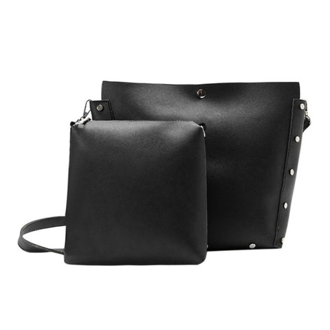 579b9f62c0c 2pcs Casual Women Leather Handbag PU Shoulder Crossbody Bag Rivet Clutch  Casual Tote Big Hobos School