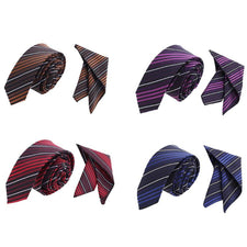 2pcs/Set Men Stripes Jacquard Waven Wedding Party Silk Necktie+Handkerchief Hanky Cufflink Set For Men Wedding Party Business