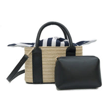2pcs/Set Summer Straw Bag Summer Beach Handbag Women Causal Shopping Travel Bag capacity Woven Shoulder Bags Pouches Bolsa Top-Handle Bags