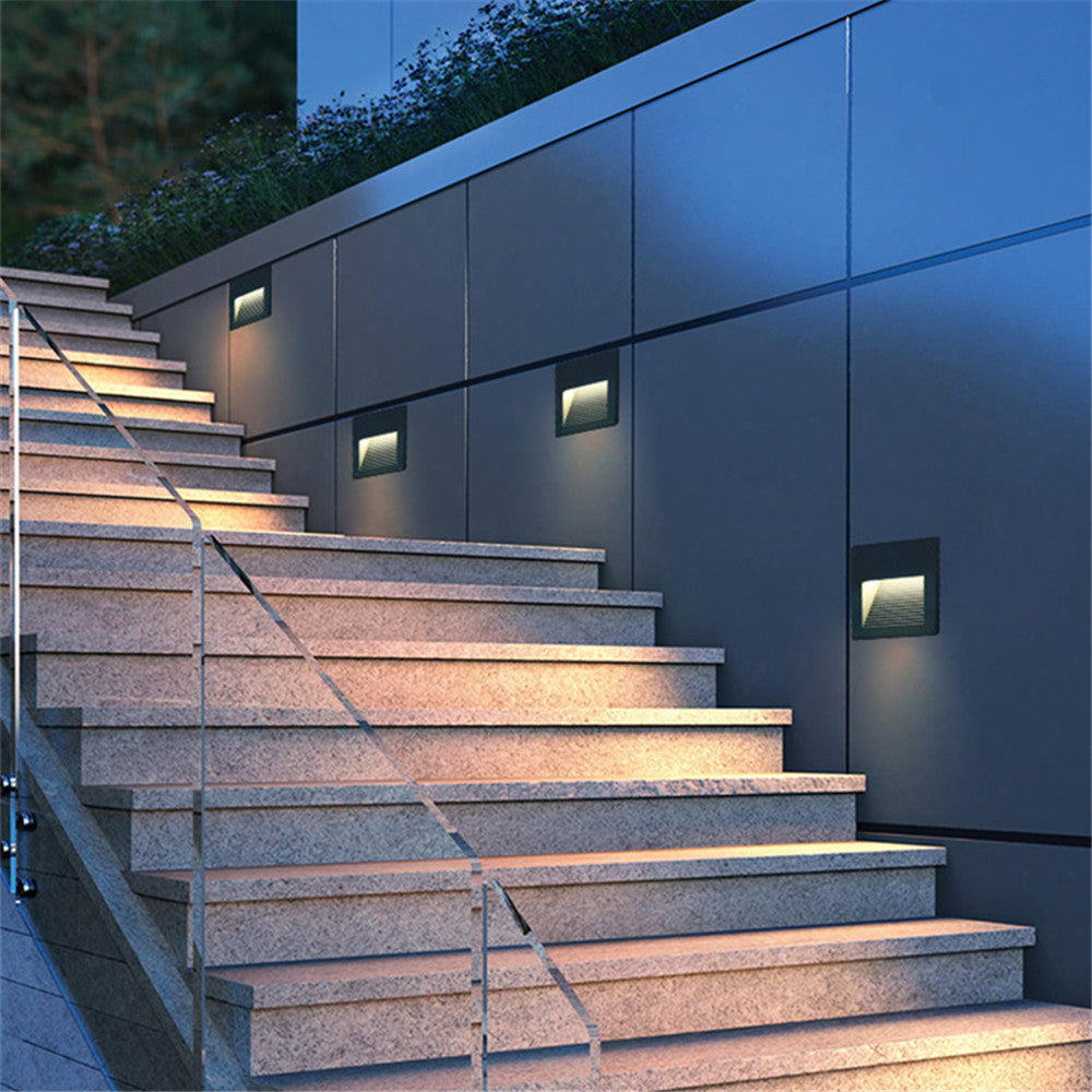 Costbuys  2pcs/lot Indoor/Outdoor Led step Stair Lights Waterproof Wall Lamps 3W Led Floor Night Lighting with 86 mounting Box -