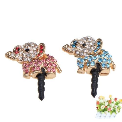 Costbuys  3.5mm Earphone Dust Plug For Iphone For Samsung Cute Elephant dog With Diamond Dustproof Plug Caps Cell Phone Accessor