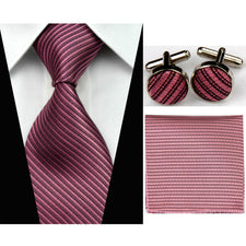 "3""/7.5cm Silk Tie Sets Mens Accessories Solid Striped Slim Business Hanky Handkerchief Cufflinks Necktie Ties for Men Gravatas"