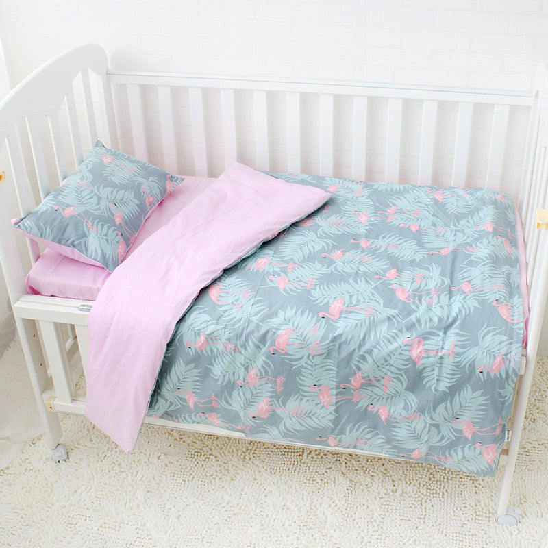 Costbuys  3 Pcs Baby Bedding Set Pure Cotton Crib Bedding Set Baby Bed Linen Includes Pillowcase Bed Sheet Duvet Cover Without F