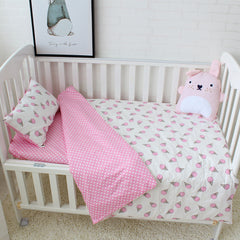 3 Pcs Baby Bedding Set Pure Cotton Crib Bedding Set Baby Bed Linen Includes Pillowcase Bed Sheet Duvet Cover Without Filler