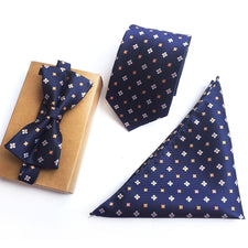 3 Pcs Men Formal Ties Set Fashion Floral Bowtie Handkerchief Necktie Sets
