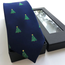 3 Pcs/Set Luxury Men's Silk Ties Set High Quality Jacquard Woven Tie with Handkerchief and Beautiful Gift Box Xmax Tree Pattern