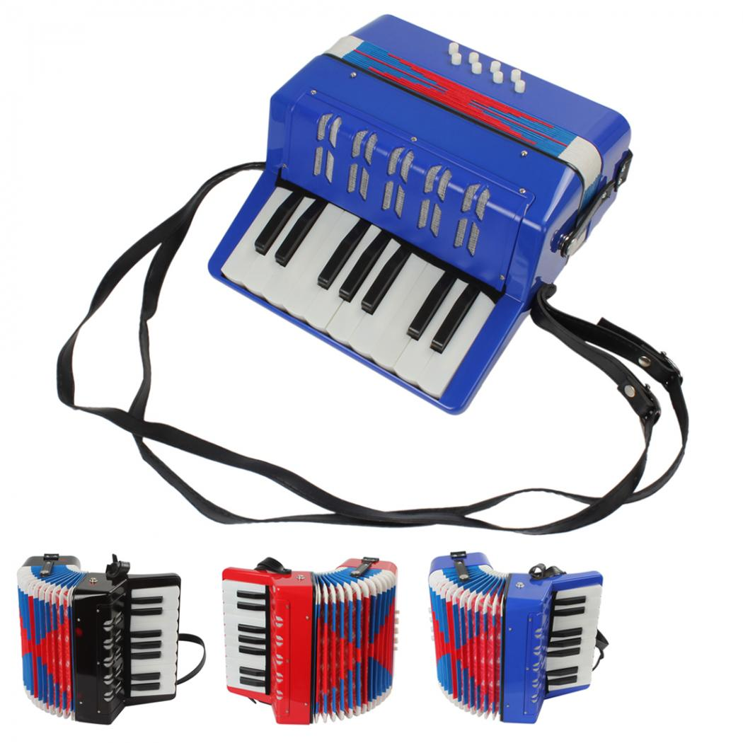 Costbuys  3 colors option Mini Educational Musical Instrument 17-Key 8 Bass Toy Accordion for Kids Children - Red