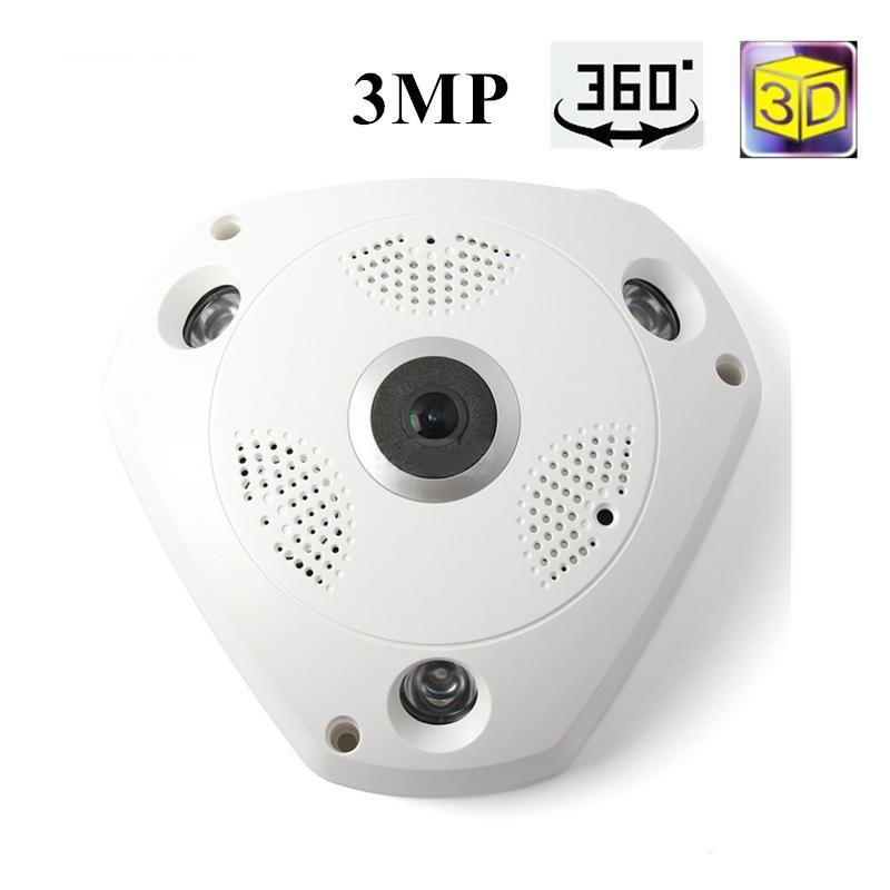 Costbuys  360 Camera IP 3MP Fish Eye Panoramic 1080P WIFI PTZ CCTV 3D VR Video IP Kamera Cam Micro SD Card Audio Remote Home Mon