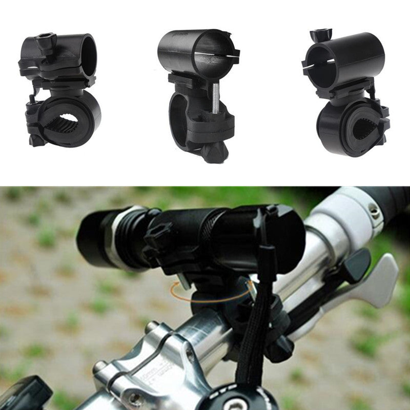 Costbuys  360 Degree Rotatable Cycling Flashlight Holder Clip Bracket Antiskid Plastic Rubber for Bike Bicycle Front Light - Bla