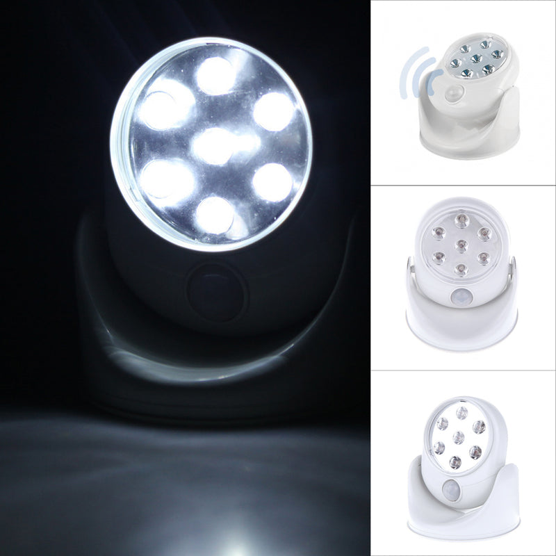 Costbuys  360 Degree Rotation Wall Lamps White Porch Light for Indoor Intelligent Body Sensor Light LED Wall Light Use Home Gard