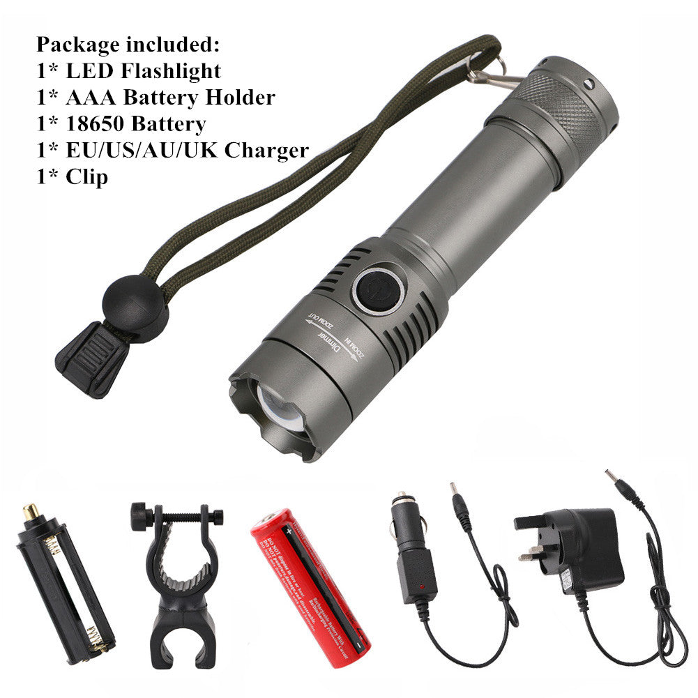 Costbuys  3800LM Zoomable T6 LED Torch Flashlight Rechargeble Waterproof LED Flashlight Lanterna Led Lampe Torch 3 Modes 18650 B