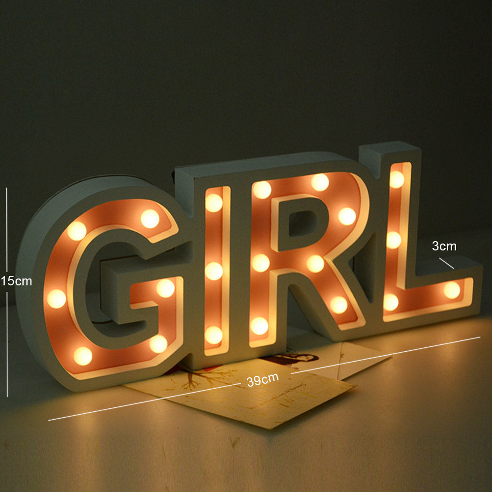 Costbuys  3D Boy Girl Marquee Letter LED Night Light Romantic Wall Lamps Home Birthday Wedding Indoor Outdoor Valentine's Day De