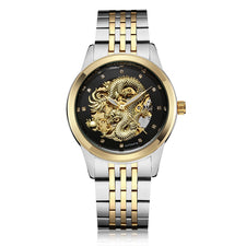 3D Carved Dragon Design Skeleton Automatic Mechanical Watches Mens Stainlesss Steel Male Wristwatch Luxury Luminous Gold