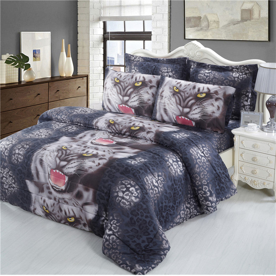 Costbuys  3D Digital Print Bedding Set Animal Tiger And Leopard Print Duvet Cover Bed Sheets Pillowcase Home Decor Quilt Cover D