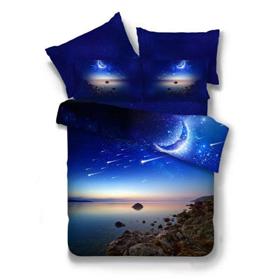 Costbuys  3D Mysterious Boundless Galaxy Outer Space Bedding Set Polyester Cotton Duvet Cover Flat Sheet Pillowcase Twin Queen S
