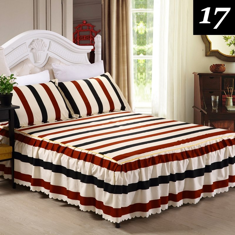 Costbuys  3PCS Bedding Sets King Queen Bed skirt Sheet set Flowers linens Bed Mattress Cover Bedspread Bedding,1 Bed Skirt 2 Pil