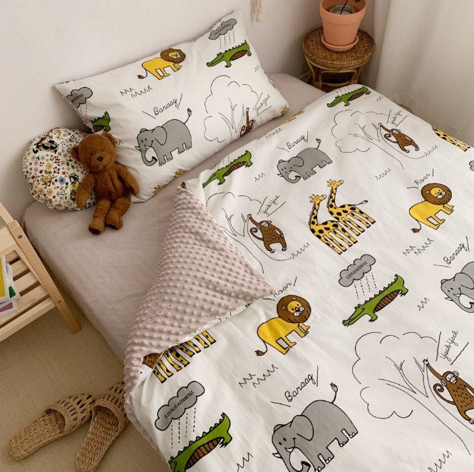 Costbuys  3Pcs 100% Cotton Crib Bed Linen Kit Unicorn Cartoon Baby Bedding Set Includes Pillowcase Bed Sheet Duvet Cover Without