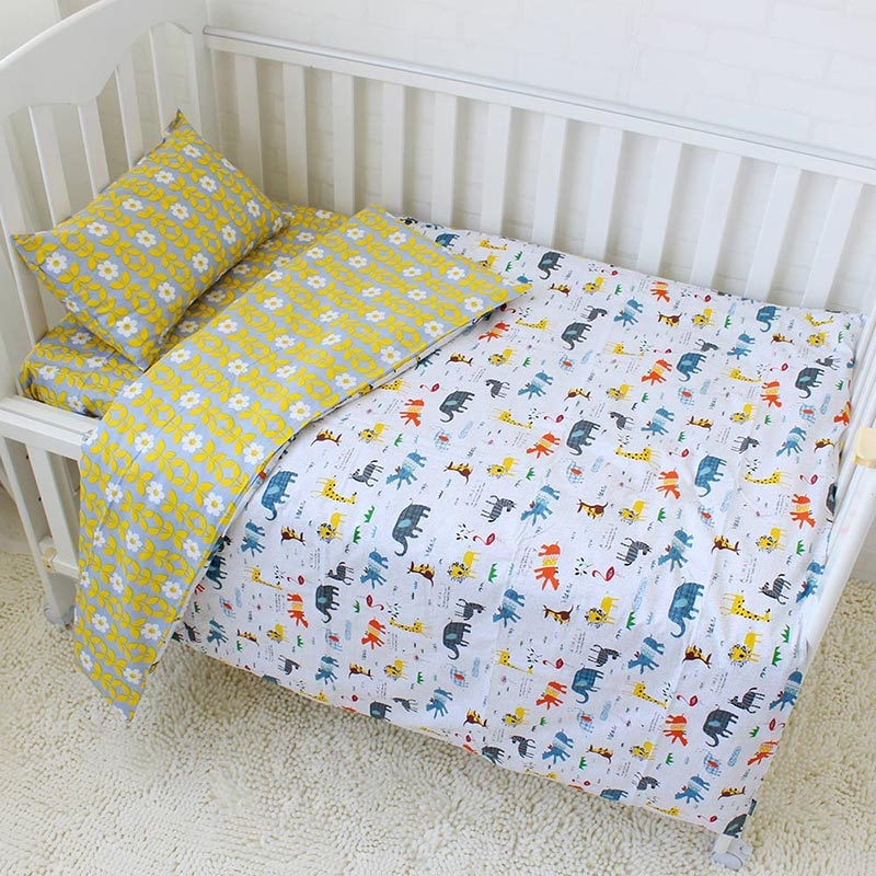 Costbuys  3Pcs Baby Bedding Set Cotton Cartoon Pattern Crib Kits Including Flat Sheet Duvet Cover Pillowcase Without Filler Baby