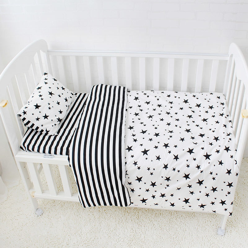 Costbuys  3Pcs Baby Bedding Set Cotton Crib Sets Black White Stripe Cross Pattern Baby Cot Set Including Duvet Cover Pillowcase