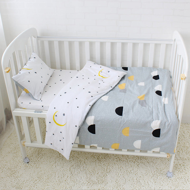 Costbuys  3Pcs Baby Bedding Set Pure Cotton Baby Crib Sets Cute Bear Pattern Baby Linen Include Duvet Cover Pillowcase Flat Shee