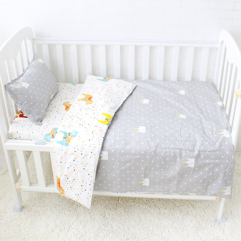 Costbuys  3Pcs Cotton Crib Bed Linen Kit Cartoon Baby Bedding Set Includes Pillowcase Bed Sheet Duvet Cover Without Filler - Gre