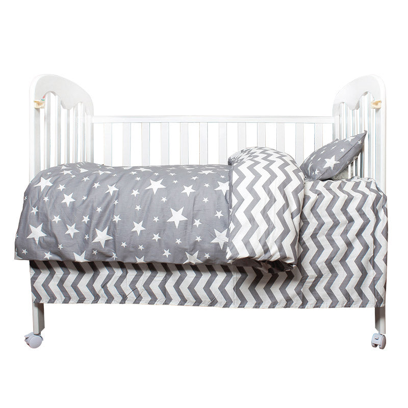 Costbuys  3Pcs Cotton Crib Bed Linen Kit Cartoon Baby Bedding Set Includes Pillowcase Bed Sheet Duvet Cover Without Filler - Sta