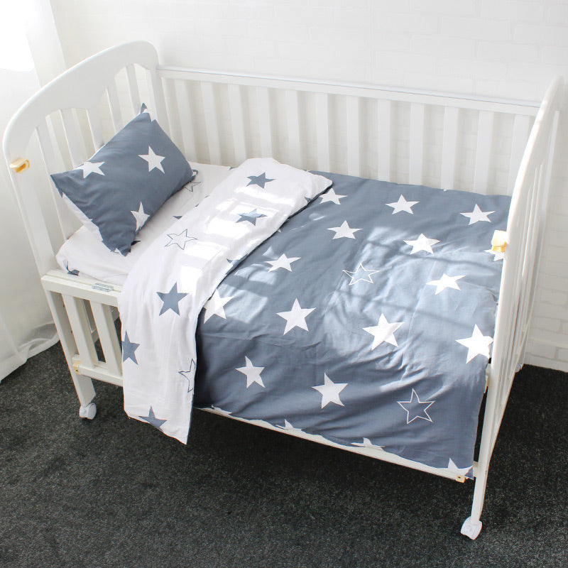 Costbuys  3Pcs Cotton Crib Bed Linen Kit Cartoon Baby Bedding Set Includes Pillowcase Bed Sheet Duvet Cover Without Filler - Dou