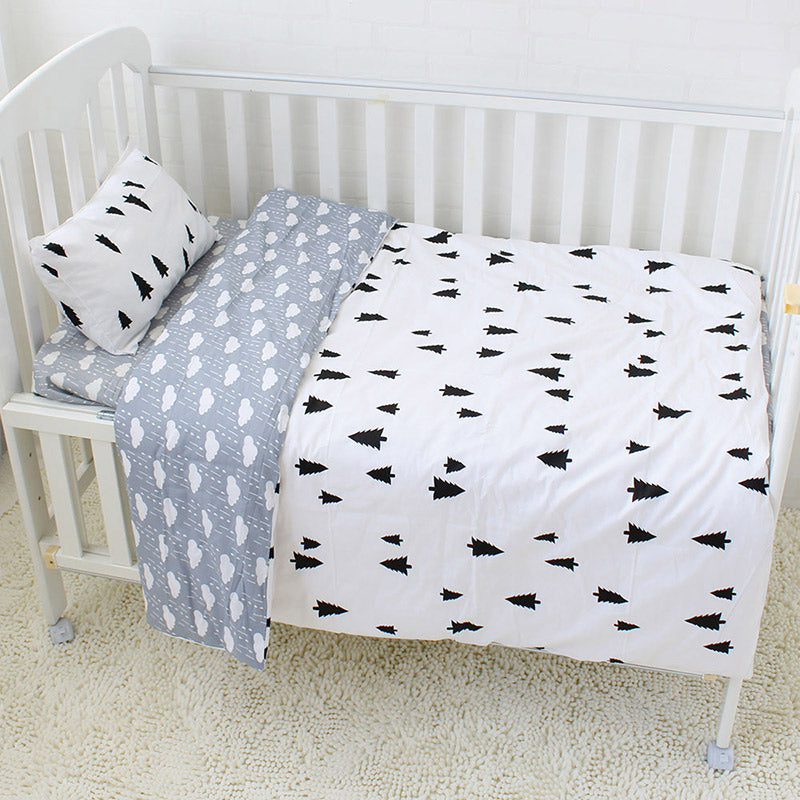 Costbuys  3Pcs Cotton Crib Bed Linen Kit Cartoon Baby Bedding Set Includes Pillowcase Bed Sheet Duvet Cover Without Filler - Bla