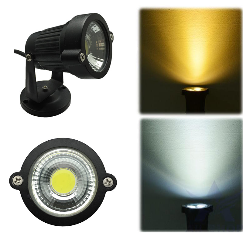 Costbuys  3W/5W DC12V IP65 Waterproof Yard Flood Garden Lights COB LED Outdoor Lighting Lawn Lamp with Base/Spike Warm White AC