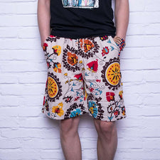 3XL Plus Size Men Casual Loose Shorts Cotton Flax Beach Shorts For Men Floral Print Short Pants Board Short Swimwear