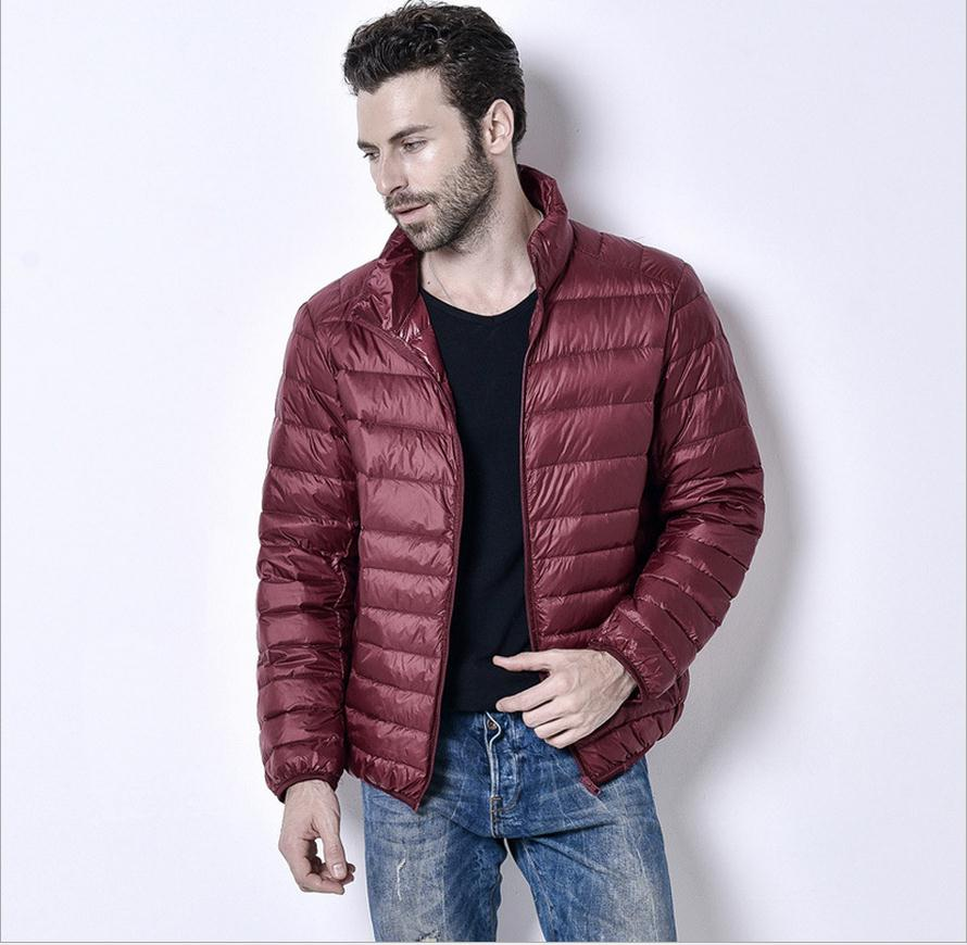 Costbuys  3XL plus size Promotion discount 90% white duck down winter men's lightweight down jacket solid color down coat - wine
