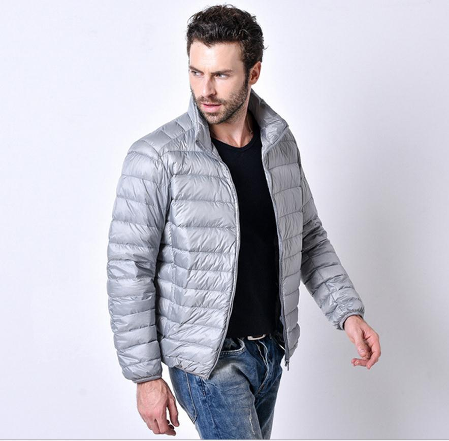 Costbuys  3XL plus size Promotion discount 90% white duck down winter men's lightweight down jacket solid color down coat - silv