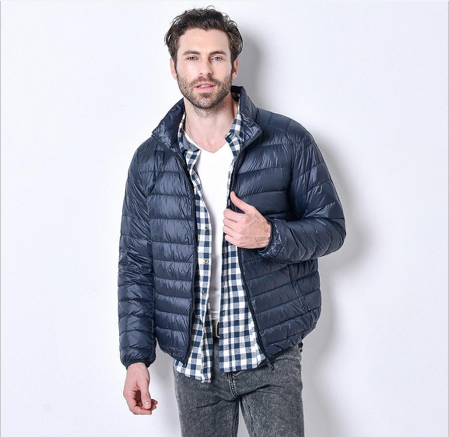 Costbuys  3XL plus size Promotion discount 90% white duck down winter men's lightweight down jacket solid color down coat - Navy