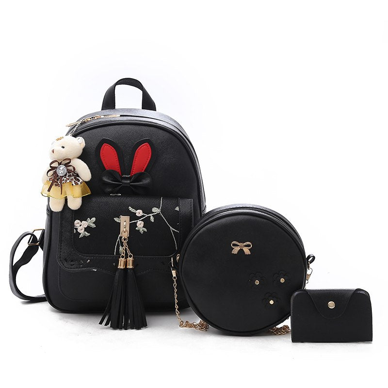 Costbuys  3pc Sets Tassel Women Backpacks For Teenage Girls Small Leather Female School Bag Rivet Ladies Backpack Sac A Dos Back