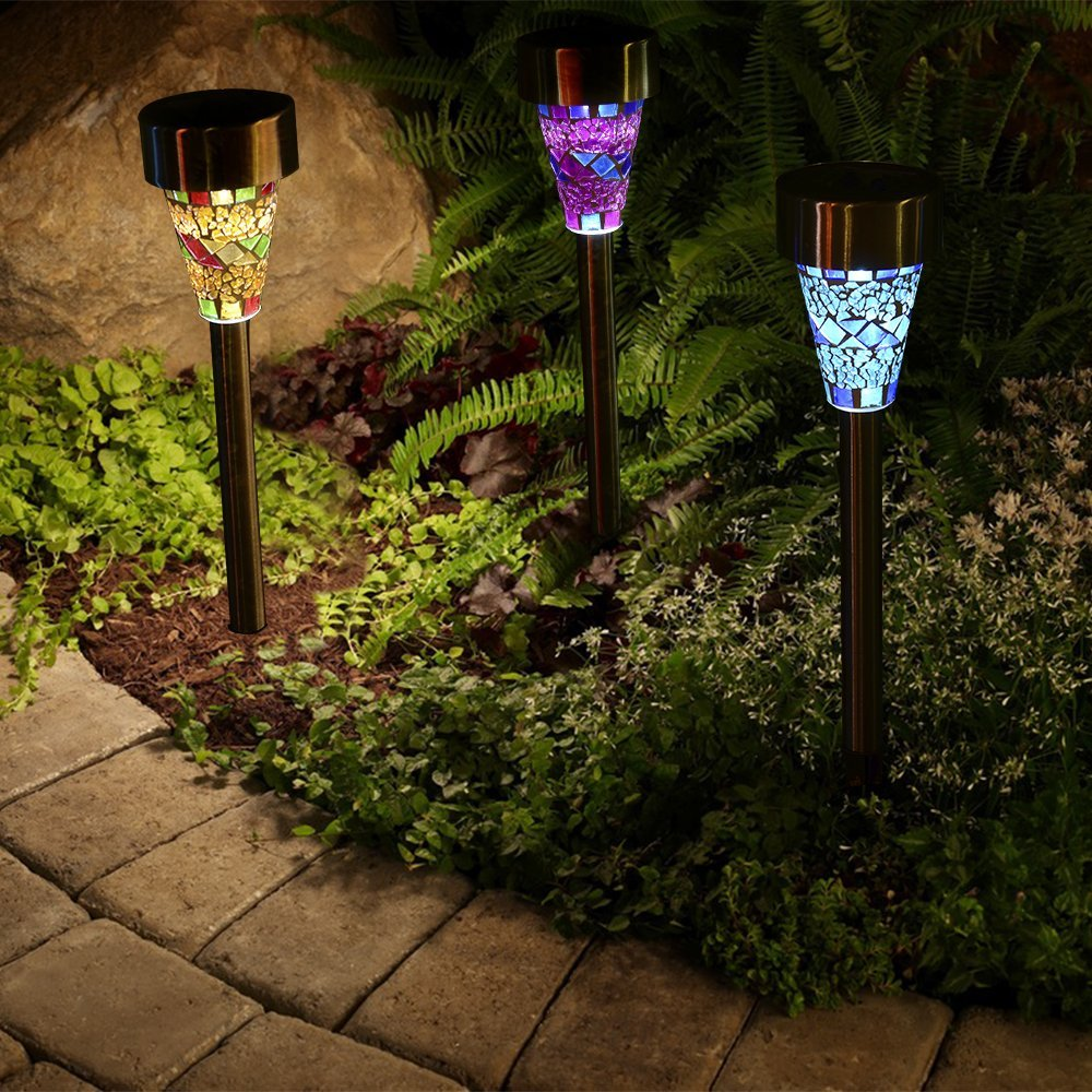 Costbuys  3pcs/lot Solar Mosaic Garden Light LED Lamp Stainless Steel Spot Light Outdoor Lawn Landscape Lighting For New Year Ch